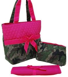 Hot Pink Camo Quilt Pattern Diaper Bag.