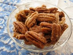 Bourbon Spiced Pecans by myownsweetthyme: Sweet, hot, spicy, crunchy. (Bourbon, sugar, Worcestershire sauce, cumin, cayenne pepper.) #Pecans #Bourbon_Spiced_Pecans #Snacks myownsweetthyme