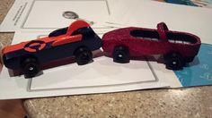 pinewood derby ..little girl runs a red slipper! red slipper