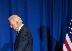 "Joe Biden after delivering remarks at George Washington University in April, 2014. Evan Osnos considers the sources of Joe Biden's off-the-cuff moments, and explains why ""the Vice-President's twilight war with his words is not likely to end soon."" http://nyr.kr/1uHbAA0 (Photograph by Nicholas Kamm/AFP/Getty)"