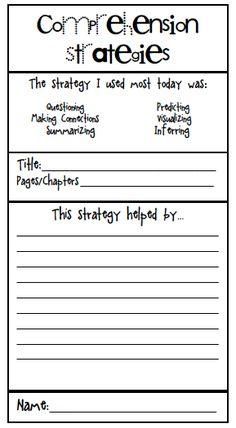 Comprehension Strategies Freebie!
