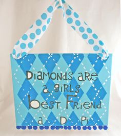 Alpha Delta Pi Canvas using stuff from DIYGreek.com,  Stencils, canvas, ribbon, paint  #sister, #little sister, #craft, #idea, #sorority, #greek,  #gift, #adpi, #diamond, #alpha delta pi