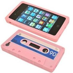 Cbus Wireless brand Light Pink/Blue Silicone Cassette Tape Case / Skin / Cover for Apple iPhone 4S / iPhone 4 $0.01