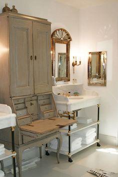 Antique secretary for bath storage/vanity