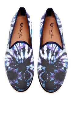 Del Toro Prince Albert Purple Tie Dye Slipper Loafers