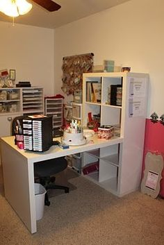 I've seen this desk at IKEA a million times, what a great idea to use it in a craft room ... hhhmmmm