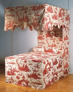 My Faux French Chateau: Antique French 18th Century Red Toile de Jouy Fabric.