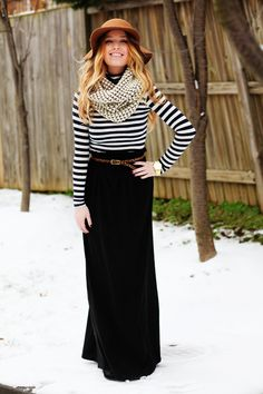 Ill wear anything Sidney wears. Black maxi skirt, black stiped top and infinity scarf. Gotta get the guts to wear a hat like that!