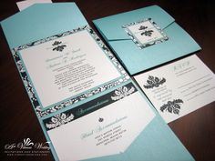 invitation design, black and blue invitations, birthdays, pocket fold, wedding invitations, tiffani blue, black damask, blue weddings, wedding black and tiffany blue