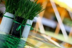 Recycled Wheat Grass Centerpieces: Spray paint or wrap tin cans with twine