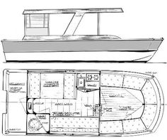 Houseboat Plans | Wooden House Boat Floor Plan