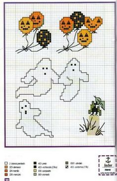 Fantasmini; Halloween motifs quick to stitch halloween balloons and ghosts.