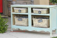 Cabinet with doors and drawers removed makes a beautiful Basket Dresser! Cool idea for furniture that has damaged or missing doors or drawers.