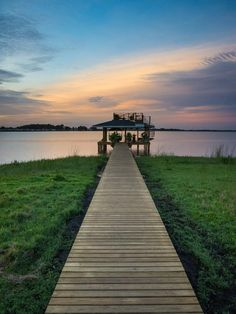 Boardwalk and Dock at Sunset
