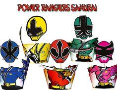 INSTANT DOWNLOAD Power Rangers Samurai Cupcake Toppers Wrappers - Power Rangers Birthday - Power Rangers Party Printables
