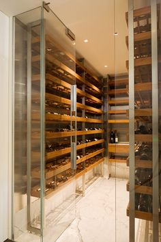 A sleek wine cellar.