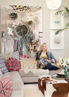 grey walls, at home, pillow, anahata katkin, art, homes, bohemian style, home studios, design