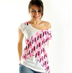 New Arrival Off the shoulder Pink Geometric by nikacollection