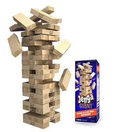 Jenga® GIANT™ Stacks to over 3 feet high!