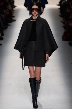 Valentino F/W 2014, black cape, knee high boots, sunglasses