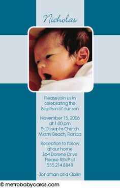 Photo Baptism/Christening Invitations :: Cross Blue Design