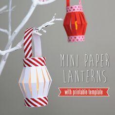 Mini paper lanterns with led tea light candles inside