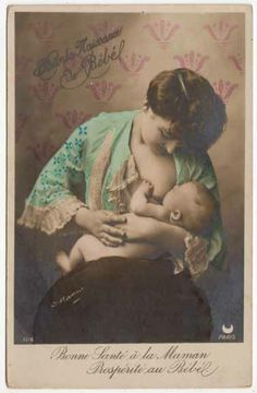 Tinted Real Photo Postcard of a Mother Breastfeeding her Baby