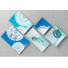 Use doilies and Martha Stewart Crafts Multi-surface Paint to decorate glass plates. Easy DIY project.