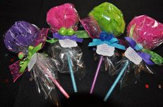 Pencil Bath Puff Lollipop Girls Spa Party Favor - Set of 4 on Etsy, $16.00