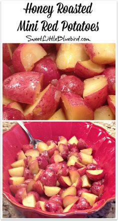 HONEY ROASTED MINI RED POTATOES - Quick and easy side dish that is absolutely delicious! Not too sweet...just right. A sweet little twist on a dinner staple. | SweetLittleBluebird.com