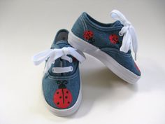 Girls Ladybug Shoes, Baby and Toddler, Hand Painted, Kids,  Denim Canvas Sneakers via Etsy