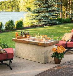 A simple design sets the stage for rich, handcrafted finishes that will warm the decor of contemporary or traditional outdoor entertaining areas.