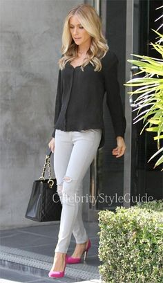 Seen on Celebrity Style Guide: Kristin Cavallari in Ripped Grey Skinny Jeans and Black Blouse July 26.....