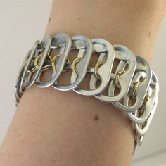 pop tab bracelet  brass chainmaille in the middle