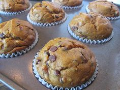Pumpkin Chocolate Chip Muffins - Your pumpkin fanatics will beg for these! Spiced pumpkin & sweet chocolate chips make this moist muffin a very special treat!