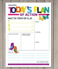 Printable Planner Daily To Do List Family Organiser Rainbow Illustrations
