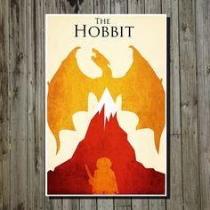 The Hobbit Lord of the Rings retro poster minimalist art movie print LOTR art poster print 11x17 The Hobbit. $19.00, via Etsy.