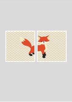 Fox printable nursery art set instant by PinkMilkshakeDigiArt, £7.00