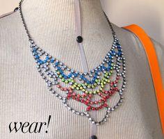 Painted rhinestone necklace. #diy