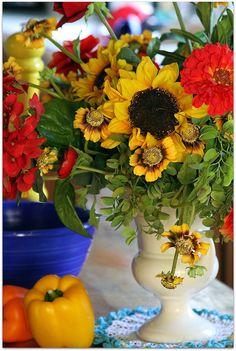 summer colors floral arrangement