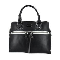 Modalu England Pippa Tote in Black with White details. Find it here: http://townshoes.com/handbags/the-pippa-bag/