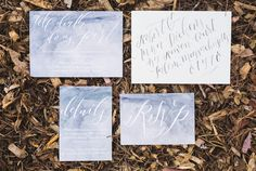 grey watercolor wedding invitations, photo by Analisa Joy http://ruffledblog.com/til-death-do-us-part-styled-wedding #weddinginvitations #stationery #calligraphy