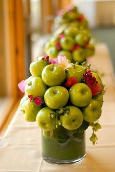 Apple centerpieces  - you could do this with any color of apples! And apples are so much cheaper than flowers, right?