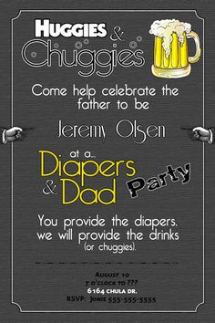 Dad diaper baby shower invitation, grey, diaper shower invitation, printable, digital file