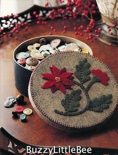 Quilt Pattern Button Box Wool Applique Hold Buttons or Make A Gift Box   eBay