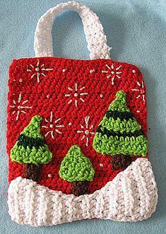 Trees Gift Bag Free Crochet Pattern. ☀CQ #crochet #christmas