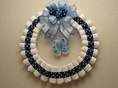 Large baby Boy Diaper Wreath by blissfulbunchesbyb2 on Etsy, $45.00