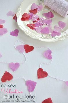 No Sew Valentine Heart Garland
