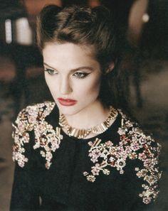jacket, sweaters, baroque, fashion, vintage hair, style, makeup, beauti, embellishments