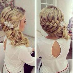 hair down with braid, side updo, updos braid, prom hair, side hair braid, wedding hair with braid, updo hairstyles with braids, wedding hair half up braid, updo braid